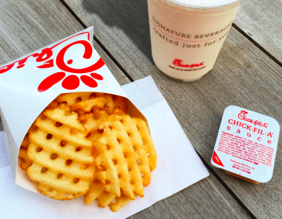 Chick Fil A waffle fries, sauce and drink