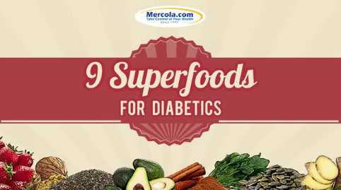 9 superfoods for diabetics with beige background